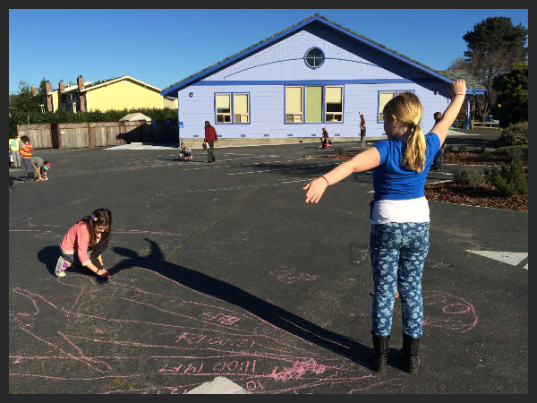 Photo of students tracking their shadows.